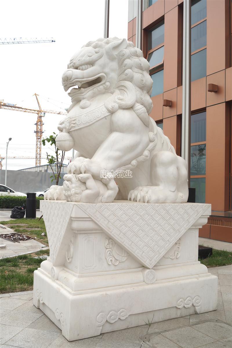 国家电网 2.5米高汉白玉石狮子